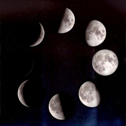 Arte com a lua em 7 fases diferentes em um céu estrelado e escuro, dispostas em círculo.